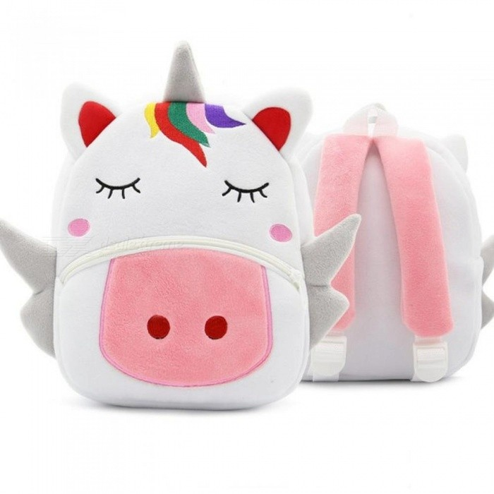 Children School Backpack Cartoon Rainbow Unicorn Design Soft Plush Material For Toddler Baby Girls Kindergarten Kids School Bags White