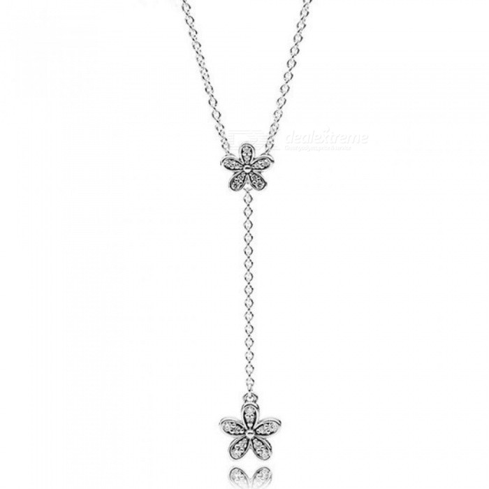 925-Sterling-Silver-Necklace-Dazzling-Daisies-With-Cubic-Zirconia-Pendant-Necklace-Women-Wedding-Gift-Fine-Pandora-Jewelry-Silver