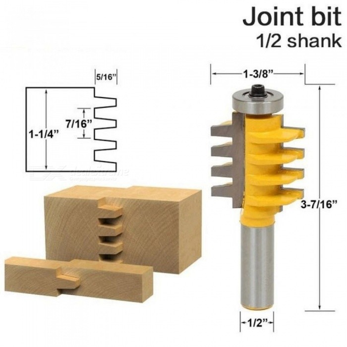 1/2 inch Shank Rail and Stile Finger Joint Glue Router Bit Cone Tenon Woodwork Cutter Power Tools RCT Yellow