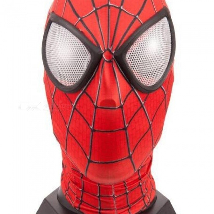 Spiderman Mask With Lens Amazing Spiderman Face Mask Hero Red Spiderman Spandex Full Face Mask 58-64CM Red