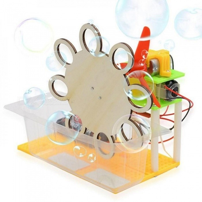 Electric Bubble Toy Science Invention For Kids Children Funny DIY Assembled Scientific Innovation Toy Educational Toys Light Khaki