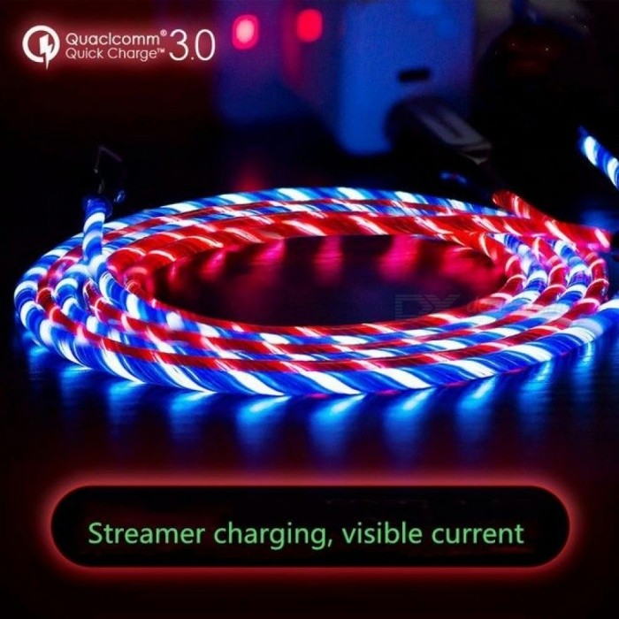 Micro USB Cable LED Flowing Visible Light Up Luminescent 3.0 Charge Cable And Android USB Cable For Samsung 1M/Blue