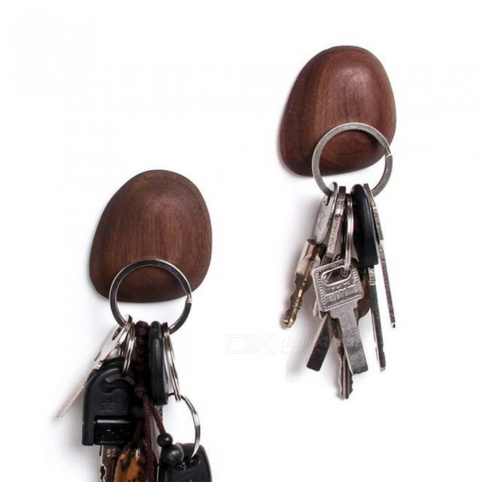 Solid-Wood-Refrigerator-Stickers-Key-Hooks-Suction-Magnet-Walnut-Wood-Key-Holder-Wall-Pendant-Hook-Up-Wall-Decoration-Brown-5cm