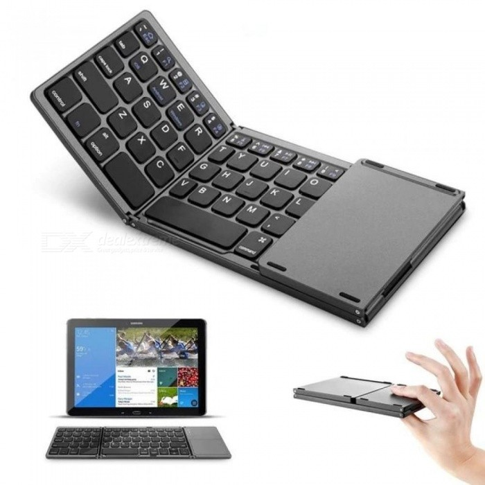 Mini Foldable Touch 3.0 Bluetooth Keyboard For iPhone iPad Samsung Dex Win iOS Android System Black Color Keyboard