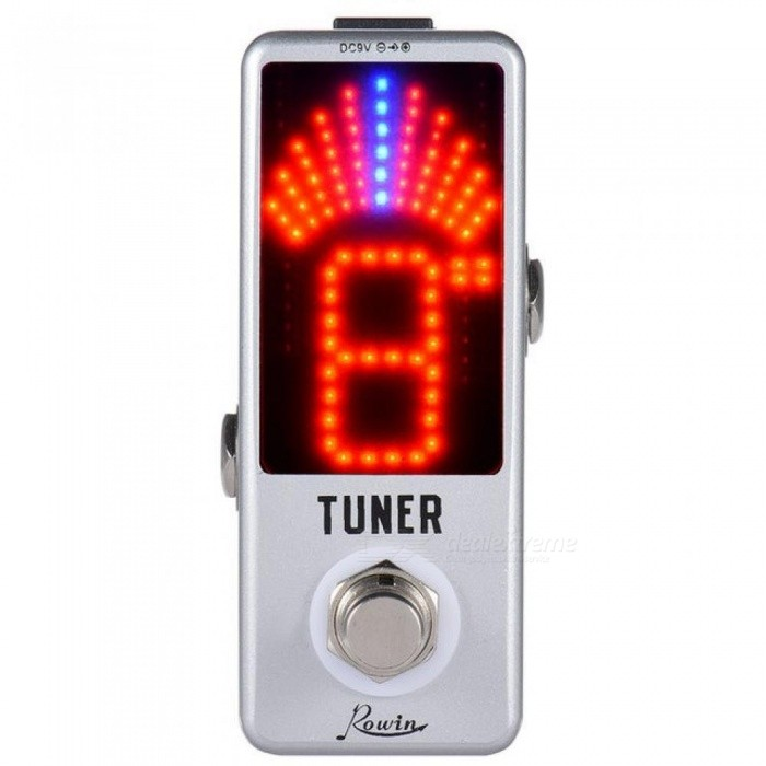 Mini-Chromatic-Tuner-Pedal-Effect-LED-Display-True-Bypass-For-Guitar-Bass-LED-Screen-With-Silver-Color-White