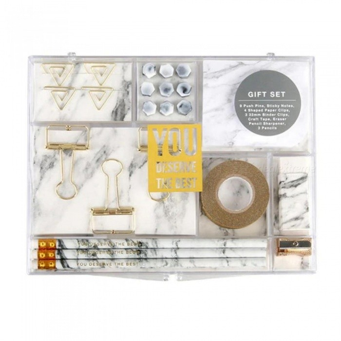 Marble-White-Stationery-Kit-for-Office-Supplies-Shopkins-Stationery-Set-Gift-with-8-Type-Stationery-Items-Pencils-Clips-Memo-Pad-A