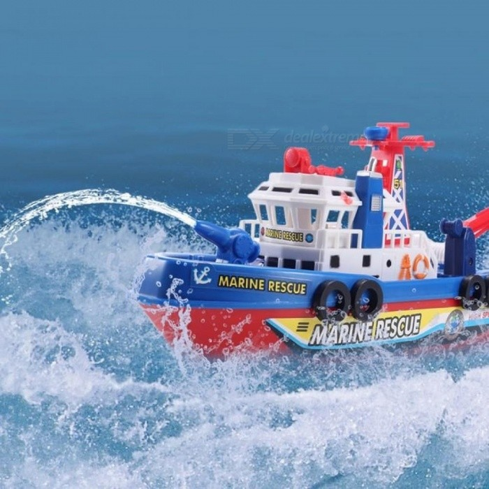 High Speed Music Light Electric Marine Rescue Fire Fighting Boat Non-Remote Toy Metal Plastic Material Colormix
