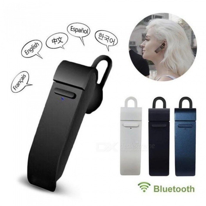 Microphone Smart Bluetooth Translator Headset 23 Languages Intelligent APP Online Translation Wireless Bluetooth Earphone White