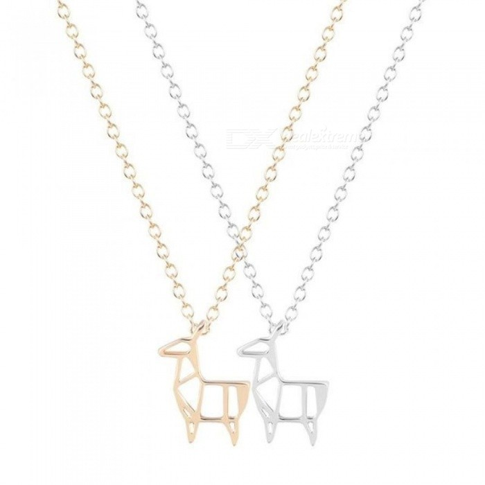 Unique-Origami-Deer-Necklace-for-Women-and-Girls-Cute-Gift-30-PCS-Lot-With-Gold-And-Silver-Color-Optional-Gold-color