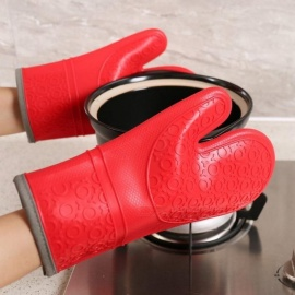 Lengthen Oven Mitts Glove Heat Resistant Insulation Cotton Clip Glove Baking Kitchen BBQ Silicone Pot Holders Gloves Heated Green