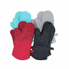 Cotton Silicone Gel Microwave Oven Mitts Heat Insulation Heat Resistance High Temperature Gloves Baking Oven Anti-Slip Gloves Red