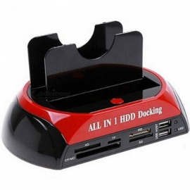 All-In-One Dual HDD Docking Station With USB Hub With US Plug With Red And Black Mixed Color Plastic Material Red Black