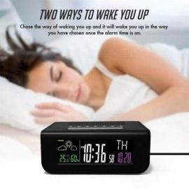 8 Languages Digital Square Color Screen LED Alarm Clock Weather Forecast FM Radio Clock With Black Color  A