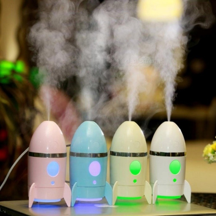 135ml Creative Rocket Humidifier Colorful Night Light Air Diffuser Purifier Atomizer Essential Oil diffuser Difusor De Aroma Yellow