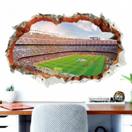 Broken Wall 3D Soccer Field Wall Stickers For Kids Baby Rooms Bedroom Home Decoration Mural Poster Football Sticker Art Decals A