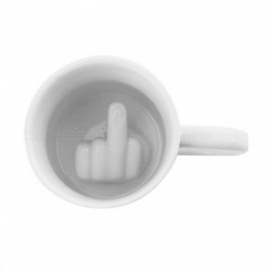 Creative White Middle Finger Style Cup Novelty Mixing Coffee Milk Cup Funny Ceramic Mug Enough Capacity Water Cup A