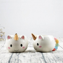 300ml 3D Unicorn Mug Creative Ceramic Coffee Tea Cup Cute Cartoon Unicorn Mugs Novelty gifts Porcelain Milk Cup For Office Copper