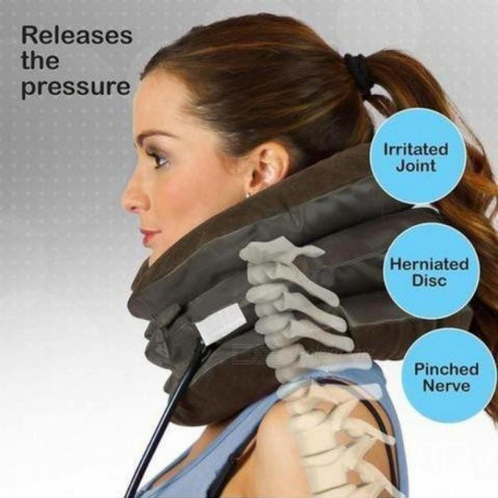 Air Inflatable Pillow Cervical Neck Head Pain Traction Support Soft Brace Device for Head Back Shoulder Neck Pain Health Care Universal/Chocolate