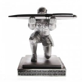 Executive Medieval Bowing Knight Pen Holder Stand Gift Desktop Decoration Armor Soldier Figurine Statue Paperweight A