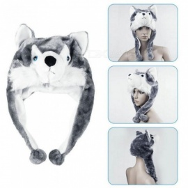 Cartoon Animal style Hood Wolf Hat Hoods Beanies Cute Fluffy kids Caps Soft Warm Scarf Earmuff Plush Huskies Hats A