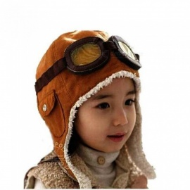 Unisex Bomber Hats Child Pilot Aviator Hat Earmuffs Beanies Kids Autumn Winter Warm Earflap Ear Protection Cap Child Accessories Brown