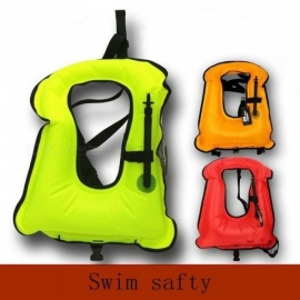 Adult Inflatable Life Jacket Snorkeling Buoyancy Swimming Floating Life Vest 52*40CM Canvas Material Multi-Color Optional M/Red