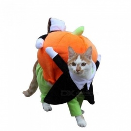 CellDeal New hot sale Funny Pet Dog Lifting pumpkin Rodeo Cowboy Costume Halloween Party Clothing Clothes Dress for the holidays S