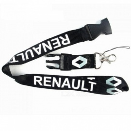 Lanyard Key Chain For Car Neck Strap ID Card Key Ring Badge Holder Clip Case For Renault Duster Megane 2 3 Capture Black