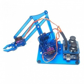 For Arduino Robot Arm 4 Axis Rotating Kit With Joystick Button Controller 4 PCS Servo Acrylic Material Red