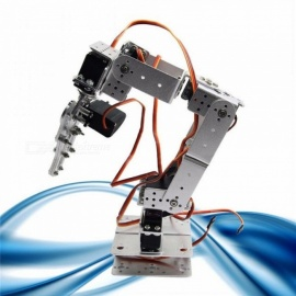Robot Smart Robot ROT2U 6DOF Aluminium Robot Arm Clamp Claw Mount Kit With Servos For Arduino Silver  Color Silver
