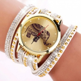 Popular Fashion Elephant Pattern Bracelet Watches Watch Women Dress Classical Jewelry Quartz Wrist Watch XR955 Brown