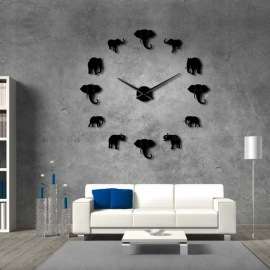 Jungle Animals Elephant DIY Large Wall Clock Home Decor Modern Design Mirror Effect Giant Frameless Elephants DIY Clock Watch 37 Inch/Black