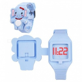 CkeyiN Blue Elephant Children's Watches For Girls & Boys LED Digital Display Electronic Flip Watch Silicone Kol Saati WL193L 37 Blue