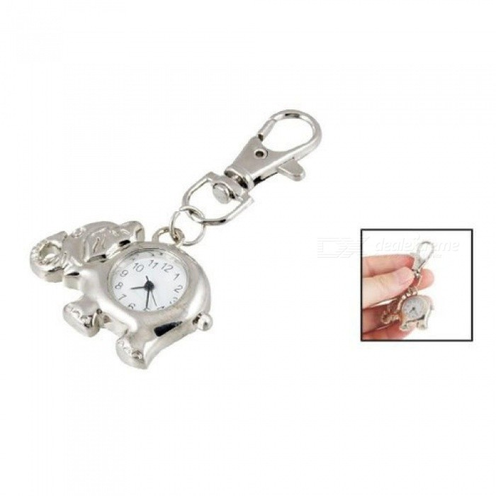 Elephant-Shaped-Arabic-Number-Round-Dial-Watch-Key-Ring-KeychaIn-With-Silver-Tone-Color-Metal-Material-A