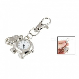Elephant Shaped Arabic Number Round Dial Watch Key Ring KeychaIn With Silver Tone Color Metal Material A
