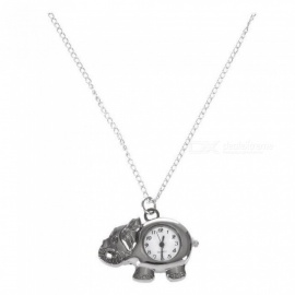 Elephant Watch Shaped Elephant Watch Pendant Necklace Watch With Silver Tone Metal Material 4*3*0.6 CM Silver