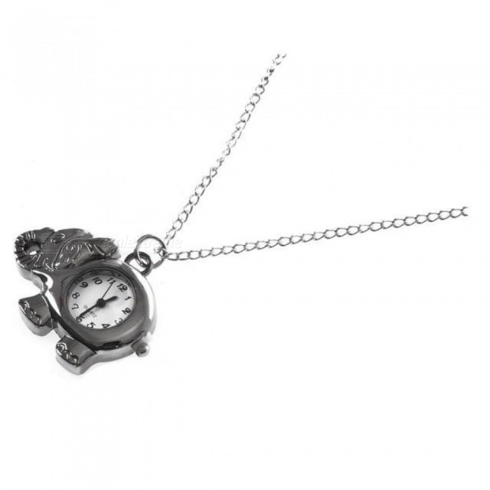 Elephant Watch Shaped Elephant Watch Pendant Necklace Watch With Silver Tone Metal Material 4*3*0.6 CM
