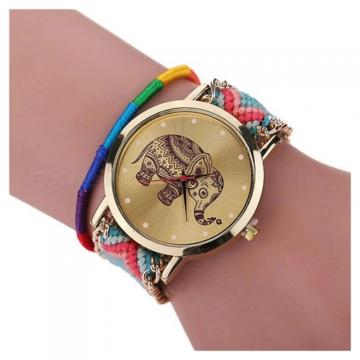 Multicolor Elephant Watch Quartz Watch Braided Bracelet With Powder Blue Buckle Type Leather Material