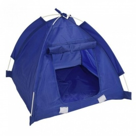 Pet Kitten Cat Puppy Dog Mini Nylon Camp Tent Bed Play House With Blue Color Nylon Material 48*48*43CM A