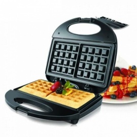 Electric Waffle Maker Electric Sandwich Iron Machine Bubble Egg Cake Oven Breakfast Machine Conifer Fast Delicious Safety UK/220-240V/Black