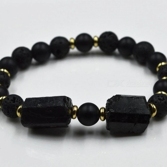 Black-Tourmaline-Chunky-Lava-Elastic-Rope-Bracelet-65-Inches-length-8MM-Width-With-SilverGold-Spacer-Gold-Spacer