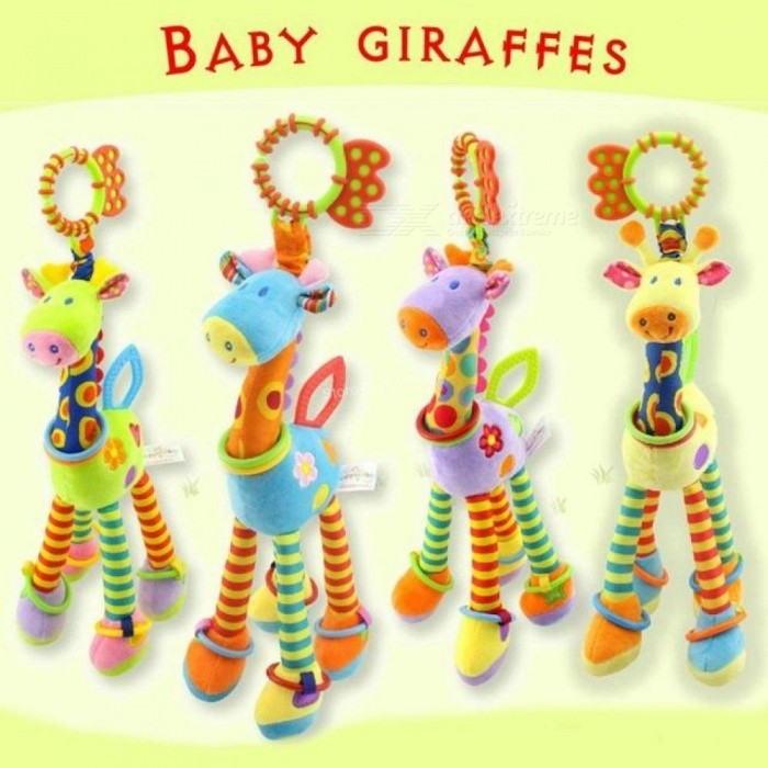 Baby-Toys-0-12-Months-Plush-Giraffe-Deer-Soft-Animal-Bed-Hanging-Rattles-Mobiles-With-Bell-Ring-Infant-Green