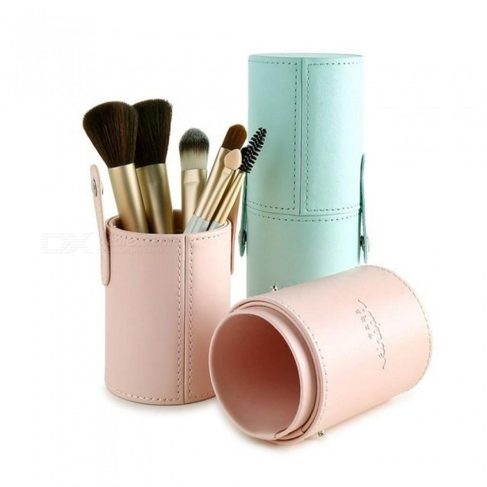 Makeup Brush Holder Empty Portable Make Up Brushes Case Round Pen Organizer Cosmetic Tool PU Leather Cup Container S Green