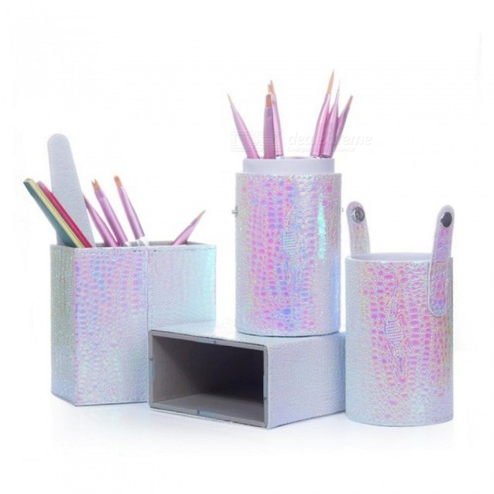 Makeup Nail Art Brush Holder Container Nail Brush Storage Case Nail Art Tool Accessories Pu Leather Material PU Leather 1