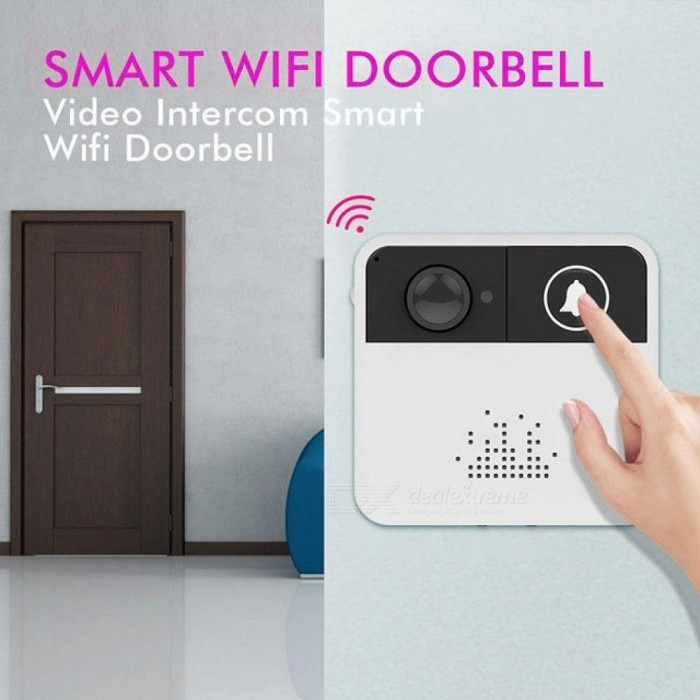 Wireless-Doorbell-WiFi-Video-Security-Camera-Door-Chime-Bell-Phone-Remote-Control-With-White-Color-71-x-67-x-30mm-A
