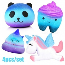 Anti-stress-Soft-Squish-Toys-Cute-Squishy-Set-Jumbo-Horse-Panda-Slow-Rising-Cube-Anti-Stress-Squish-Shit-Toy-For-Kids-Adult-4PCS-4pcsSet