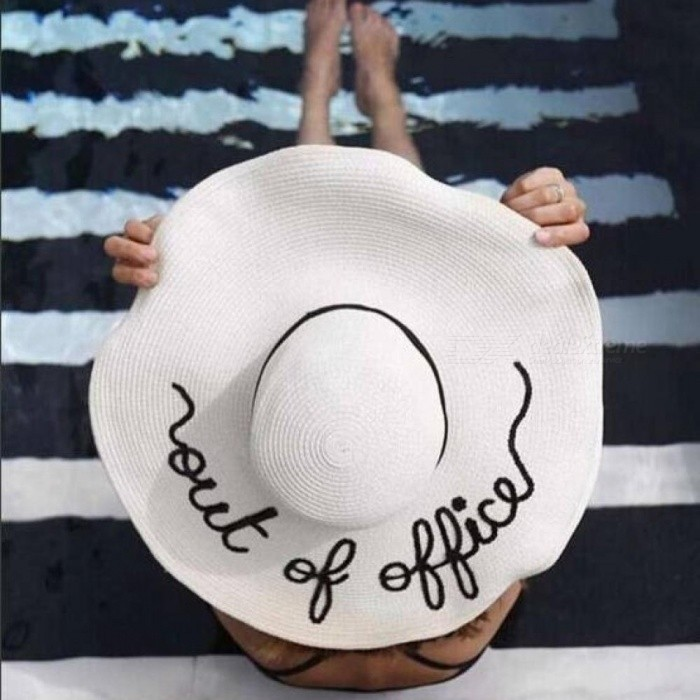 Women Straw Summer Large Brim Letter Sun Hat Floppy Ribbon Fashion Beach Hat With White Color Round Shape White