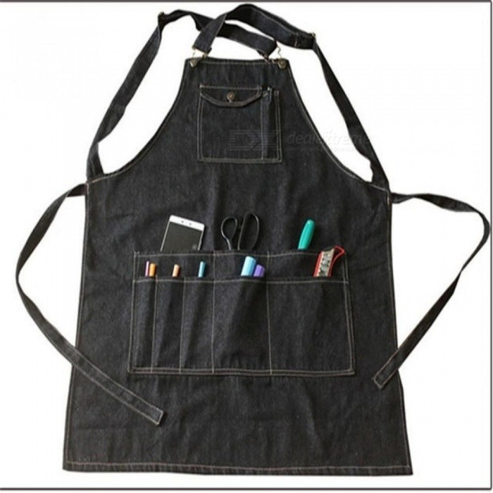 Buy Fashion Black Cotton Denim Apron Funny Cooking Work Aprons With Pockets Strap For Men Women Barber Cafe Restaurant Unisex   75 by 60cm/Black with Litecoins with Free Shipping on Gipsybee.com