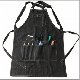 Fashion-Black-Cotton-Denim-Apron-Funny-Cooking-Work-Aprons-With-Pockets-Strap-For-Men-Women-Barber-Cafe-Restaurant-Unisex-75-by-60cmBlack