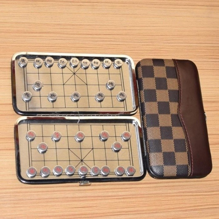 Alloy Material Portable Mini Magnetic Folding Chinese Chess Set Child Educational Toys China National Style Board Games Alloy Material
